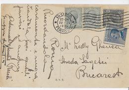 STORIA POSTALE REGNO - CARTOLINA ILLUSTRATA DA ROMA 22.02.1922 PER BUCAREST AFFRANCATURA TRICOLORE LEONI MICHETTI - 1861-78 Victor Emmanuel II.