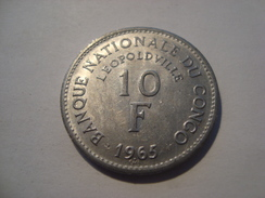 MONNAIE CONGO 10 FRANCS 1965 - Congo (Democratic Republic 1964-70)