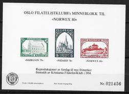 Norvège,  1980 Bloc Semi Officiel Neuf, Oslo Filatelistklubb Pour L'expo Norwex 80 Tirage 50000