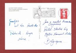 Ruoms Au Coeur Du Vignoble Ardèchois,raisins  Oblitération Flamme Sur Carte Postale 1994 - Stamps