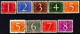 06990 Holanda 457/58 + 460 + 610/12a + 611b Numerais U - Gebraucht