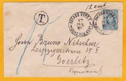 1891 - Russie En Lettonie - Enveloppe De Kraslava à Goerlitz, Allemagne - Taxée -  Cad Arrivée - Briefe U. Dokumente