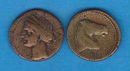 COLONIA FENICIA  Unidad De Bronce BRONCE DIOSA TANIT 221-218 A.C. Réplica  SC/UNC    DL-12.098 - Otras Piezas Antiguas