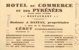 CERET - H<ÖTEL DU COMMERCE & DES PYRENEES - CARTE COMMERCIALE ANCIENNE - FORMAT CPA (9 X 14 Cm). - Ceret