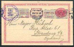 1911 Sweden 10 Ore Stationery Postcard. Henry Wennberg, Stockholm Stamp Dealer - Major Hubsch, Strassburg. - Sweden