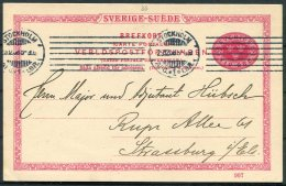 1908 Sweden 10 Ore Stationery Postcard. Henry Wennberg, Stockholm Stamp Dealer - Major Hubsch, Strassburg. - Sweden
