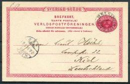 1894 Sweden 10 Ore Stationery Postcard. Helsingborg - Kiel - Sweden