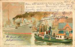 ALLEMAGNE 070517A - HAMBURG - HAFENANSICHT MIT WOERMANN DAMPFE - WLADIMIR LINDE -  Bateau Paquebot 1902 - Allemagne