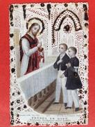 KANTEN PRENTJE - HOLY CARD - CANIVET - FRERES EN DIEU 1876 COMMUNION - Images Religieuses