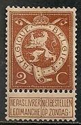 Timbres - Belgique - 1912-1913- 2 C - N° 109 - Neuf Avec Trace De Charnière -