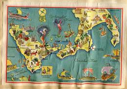 Cartina Disegnata Tedesca Anni '50 CALABRIA PUGLIA SICILIA MALTA Etna Stromboli Pisticci Cefalù Ragusa Etc. - Karten