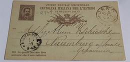 1888 INTERO POSTALE X ESTERO IMPERO TEDESCO DA LIVORNO A NAUMBURG   (261) - 1878-00 Umberto I