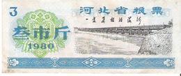 China - Food Ration Coupon - 3 Units 1980 - VF - Cina