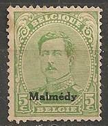 Timbres - Belgique - Albert 1er - Malmédy - 1920 - 5 C. - - Guerre 14-18