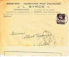 120(c) SUR Lettre Censuree - LOGO PRIVE  - L. Byrde Annemasse - Bonneterie-fournitures Pour Chasussures -1917 - Svizzera