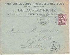 64B-  SUR LETTRE - LOGO PRIVE -J.DELACROIXRICHE - FABRIQUE DE CORDES,FICELLES & BROSSERIE - 1900 - COTE 45.--CHF - 1882-1906 Coat Of Arms, Standing Helvetia & UPU