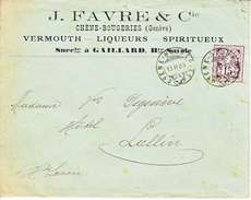 64B-  SUR LETTRE - LOGO PRIVE - J.FAVRE - CHENE-BOUGERIES - VERMOUTH,LIQUEURES ET SPIRITUEUX - 1905 - COTE 45.--CHF - 1882-1906 Coat Of Arms, Standing Helvetia & UPU