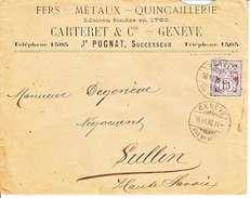 64B-  SUR LETTRE - LOGO PRIVE - CARTERET & CIE - FERS,METAUX,QUINCAILLERIE - GENEVE - 1898 - C=45CHF - 1882-1906 Coat Of Arms, Standing Helvetia & UPU