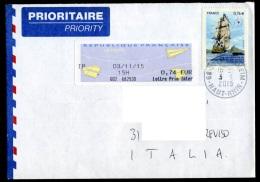 FRANCE 2015  Enveloppe  Lettre Prio Inter  France-Republique De Maurice 0,76 + Intégration - Francia