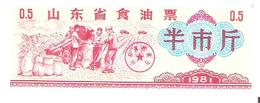 China - Food Ration Coupon - 0.5 Units 1981 - Unc - Cina