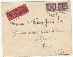 "ESC 10c O. Phom-Penh Cambodge ""Service Accéléré"" -> Hanoï Tonkin 1933 - Indochine (1889-1945)"