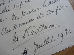 Marie Louise PAILLERON (1872-1951) Historiographe. Fille EDOUARD. [ Jacques Bourget ] AUTOGRAPHE - Autographes