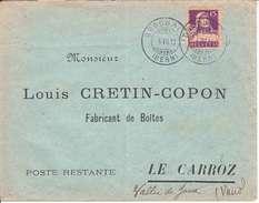 128 - SUR LETTRE - LOGO PRIVE - LOUIS CRETTIN-COPON - FABRICANT DE BOITES - LE CARROZ (VALLEE DE JOUX) - 1913 - Switzerland