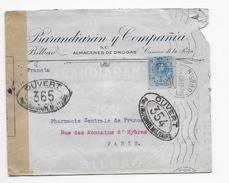 C35 Lettre Espagne Pour Paris Avec Censure Militaire Et Recherche Encre Invisible (1917) - Poststempel (Briefe)