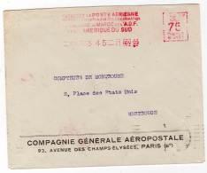 EMA - Cie G. Aéropostale    Paris 45  : 21/11/1929 - Poststempel (Briefe)