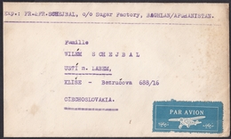Afghanistan: Airmail Cover To Czechoslovakia, 1950, 1 Stamp, Rare Air Label, Sent By Sugar Factory (minor Discolouring) - Afghanistan