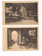 LOT 2 CPA - Potiers Au Travail / Le Repas Des Potiers - KEREZ PABU -  D'après Tableaux E. BOUILLE - Paintings