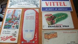 Année 60 Lot De 6 Buvards Moutarde Dessaux, Van Lynden, Vitel Etc.... - Lots & Serien