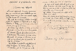 1922 - ASPIERES (12) - L.A.S. DELHOM Chef De Gendarmerie - Général Igert, Colonel Fabre - Adressée Au Député Coucoureux - Historical Documents