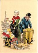 BRUXELLES (1000) : Marchande De Fleurs Brabançonne Et Livreur De Poulets Devant L'Hôtel De Ville (dessin De E. Naudy). - Straßenhandel Und Kleingewerbe