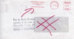 LETTRE OBLITERATION CHALON MARSEILLE TAMPON POSTE PAS DE BOITE POSTALE RETOUR A L'ENVOYEUR EN 1984 - Marcofilie (Brieven)