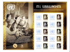 UN ONU New York Personalized Sheet  MNH 2016   M.S Subbulakshmi 100th Anniverary - New-York - Siège De L'ONU