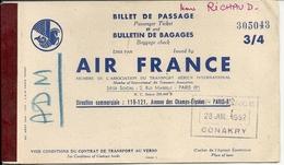 BILLET AVION AIR FRANCE POUR CONAKRY - Titres De Transport