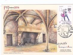Carte Locale Fête Du Timbre 2014 Coulonge S/l'Autize. Cuisinesdu Château. Dessin De R.Irolla - Unclassified