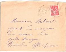 3858 PAULHAGUET CP N° 5 Haute Loire Iris 1 F Rouge Yv 433 Ob 1941 Hexagone Pointillé Poste Auto Rurale 1933 Lautier G4 - Postmark Collection (Covers)