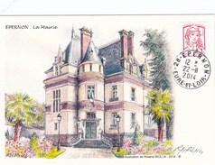 CPM Epernon La Mairie. Dessin Et Signature De R. Irolla - Epernon
