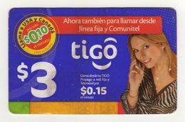 El Salvador Tigo Card $3 Girl Talking On Cell, Validity 11.10.2008, Used - El Salvador
