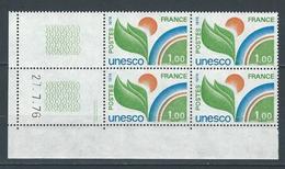 """Coins Datés Service YT 51 """" UNESCO  1F00 """" Neuf** Du 27.7.76 - Servizio"""