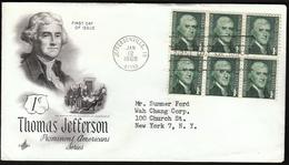 United States Jeffersonville 1968 / Thomas Jefferson / FDC - Celebrità