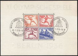 GERMANY BERLIN-GRUNAU REGATTABAHN 1/8/36 - OLYMPIC GAMES BERLIN 1936 - SOUVENIR SHEET - FENCING / ROWING / ATHLETICS