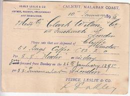 India: UPU One Anna Printed Postcard, Calicut To London, 10 January 1895 - India (...-1947)