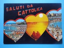 Saluti Da Cattolica - Rimini - Sagome Cuori - Vedutine - Tramonto, Spiagge E Alberghi - Rimini