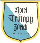 ETIQUETA DE HOTEL  -  HOTEL TRUMPY  -ZÜRICH  - SUIZA (SUISSE)  ( CON CHARNELA ) - Hotel Labels