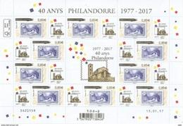 Pont De Saint Antoine *40 Ans De Philandorre* Avec Vignettes, Feuillet Neuf ** De 10 Timbres, Année 2017 - Andorre Français