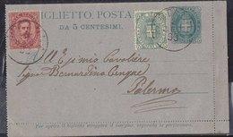 1889 - Biglietto Postale Interit. N. 1 Con F.lli Aggiunti (5+10c.) (Vedi 2 Foto) - 1878-00 Umberto I