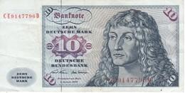 BILLETE DE ALEMANIA DE 10 MARCK DEL AÑO 1970   (BANKNOTE) - [ 7] 1949-… : FRG - Fed. Rep. Of Germany